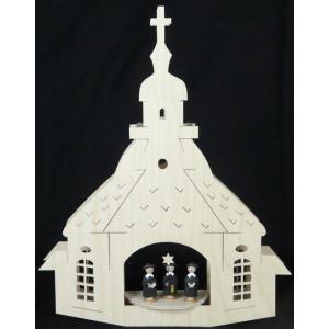 Beleuchtete Fensterbilder Kirche zu Seiffen best. B x H= 37x28cm NEU