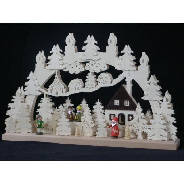 Schwibbogen el. Beleuchtet mit Laternenkinder und Weihnachtsmann B x H= 50x32cm NEU