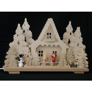 Schwibbogen el. Beleuchtet mit Schneemann , Weihnachtsmann und Kindern B x H= 50x32cm NEU