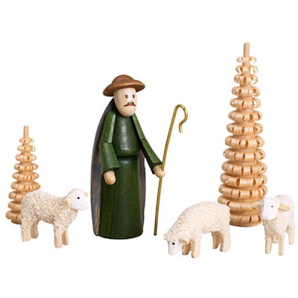 Weihnachtsdekoration Schäfer mit Schafen und Bäumen bunt Höhe 6,5cm NEU