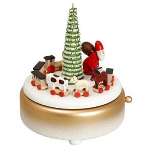 Weihnachtsdekoration Spieldose Weihnachtsmann weiß BxHxT 13x15,5x13cm NEU