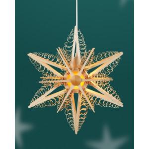 Fensterschmuck Spanstern doppelt el. Beleuchtet Mitte mit Stern BxHxT=32x32x10cm NEU