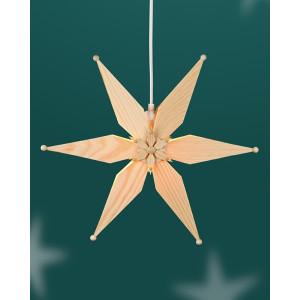 Fensterschmuck Kieferstern doppelt el. Beleuchtet Mitte mit Stern BxHxT=34x34x8cm NEU