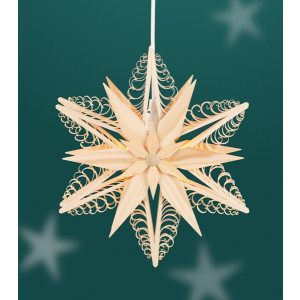 Fensterschmuck Spanstern doppelt el. Beleuchtet Mitte mit 2 Sterne BxHxT=24x24x8cm NEU