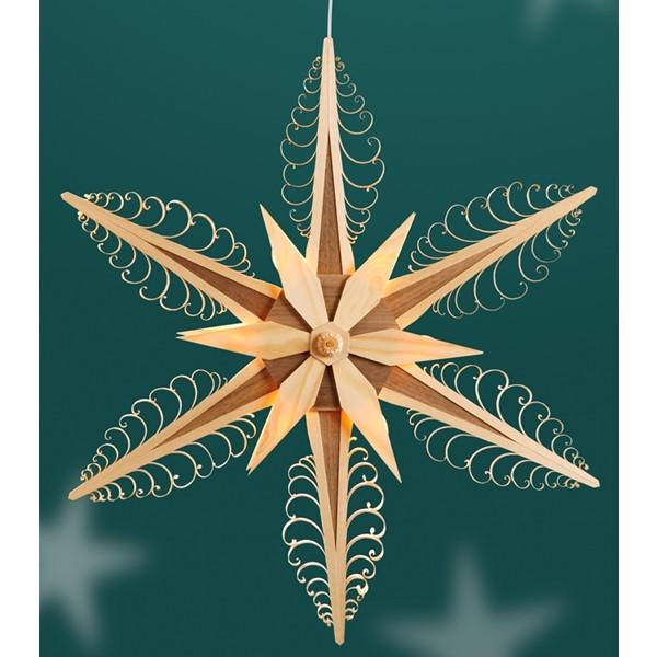 Fensterschmuck Spanstern Braun el. Beleuchtet Mitte mit Stern (beidseitig) BxHxT=54x54x6cm NEU