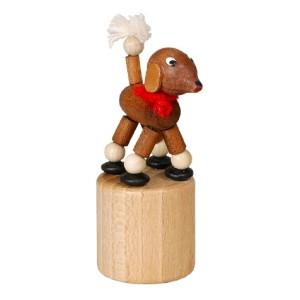Wackeltier Pudel braun Wackelfigur Seiffen Erzgebirge Spielzeug 105/038 NEU