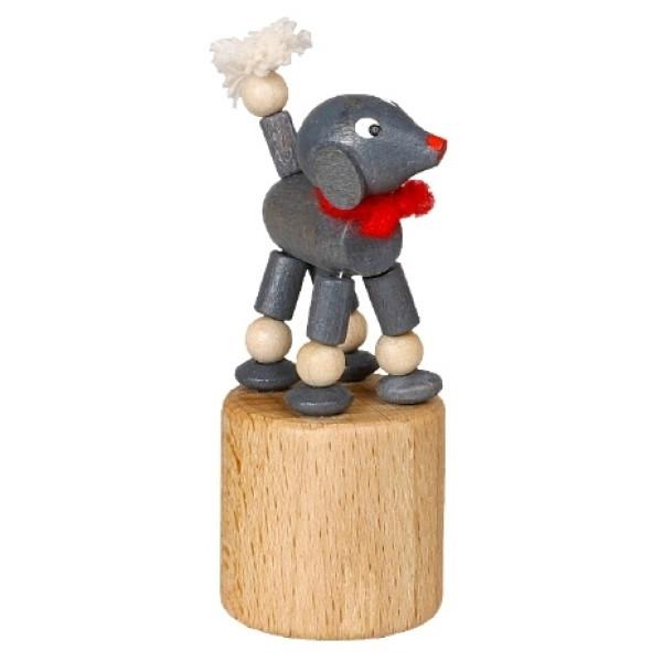 Wackeltier Pudel grau Wackelfigur Seiffen Erzgebirge Spielzeug 105/038 NEU