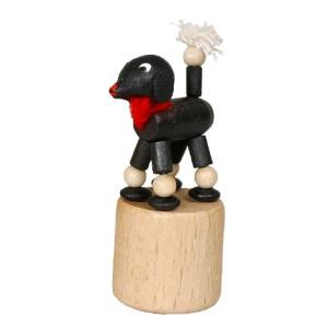 Wackeltier Pudel schwarz Wackelfigur Seiffen Erzgebirge Spielzeug 105/038 NEU
