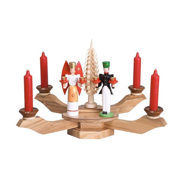 Kerzenhalter Tischleuchter natur mit Engel und Bergmann BxT = 38x38cm NEU
