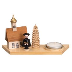 Kerzenhalter Teelichthalter Kurrendefigur mit Buch natur Breite ca 15cm NEU