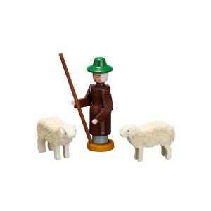 Weihnachtsfiguren Miniatur Schäfer mit 2 Schafen Höhe ca 6,5cm NEU