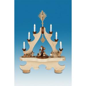 Große Spitze mit Beleuchtung - Weihnachtsmann mit Engel mit Krone / natur Breite ca 43cm NEU