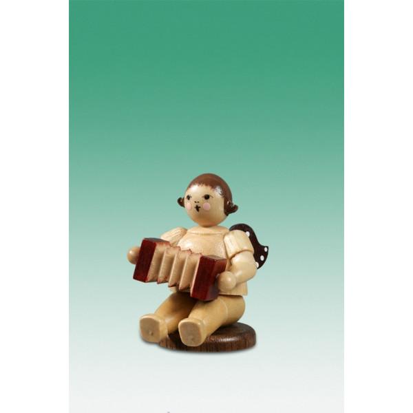 Engel flach sitzend mit Harmonika Ohne Krone /Natur Höhe ca 6,5 cm NEU