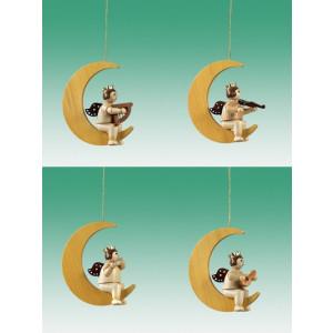 Baumbehang 4-teilig / Engel auf Mond Ohne Krone Natur Höhe ca 6,5 cm NEU