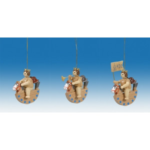 Baumbehang 3-teilig / Engel auf Schaukel Natur Höhe ca 6,5 cm NEU