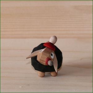Schaf Babyschaf schwarz, Mütze rot Höhe ca 3,0cm NEU