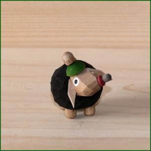 Schaf Babyschaf schwarz, Mütze grün Höhe ca 3,0cm NEU