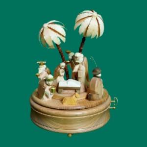 Spieldose Christi Geburt, 28-st.´´Stille Nacht´´ groß Natur Höhe ca 25 cm NEU