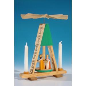 Wärmespiel Miniatur-Pyramide mit Könige, grün für den Heizkörper oder Puppenkerzen(7mm x 40mm) Höhe ca 13,5 cm NEU