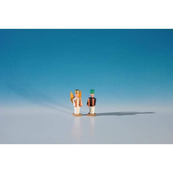 Miniatur Engel und Bergmann Höhe ca 3,2 cm NEU