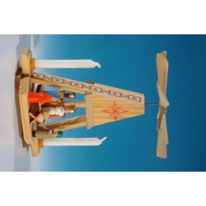 Wärmespiel Miniatur-Pyramide mit Christi Geburt kompl. für den Heizkörper oder Puppenkerzen(7mm x 40mm) Höhe ca 13,5 cm NEU