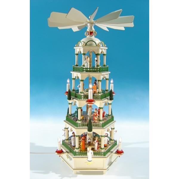 Große Weihnachtspyramide in historischen Farben, elektrisch Höhe ca 70 cm NEU