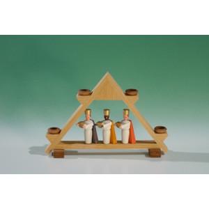 Kerzenhalter Mini.-Lichtergiebel mit heilige 3 Könige für Puppenkerzen(7mm x 40mm) Höhe ca 7,5 cm NEU