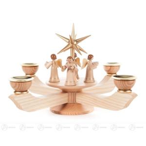 Adventsleuchter mit Stern und stehenden Engeln natur groß, für Kerzen d=20mm Breite x Höhe x Tiefe 24 cmx19 cmx24 cm NEU