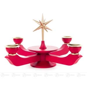 Adventsleuchter mit Stern rot groß, für Kerzen d=20mm Breite x Höhe x Tiefe 24 cmx19 cmx24 cm NEU