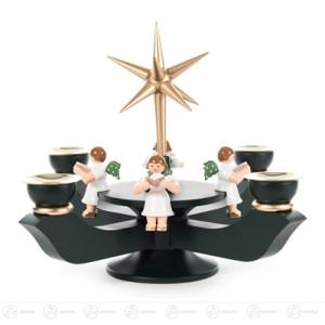 Adventsleuchter mit Stern und sitzenden Engeln dunkelgrün klein, für Kerzen d=17mm Breite x Höhe x Tiefe 19 cmx19 cmx19 cm NEU