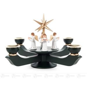 Adventsleuchter mit Stern und stehenden Engeln dunkelgrün groß, für Kerzen d=20mm Breite x Höhe x Tiefe 24 cmx19 cmx24 cm NEU
