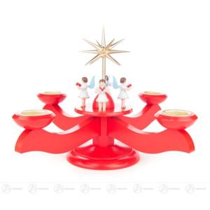 Adventsleuchter mit stehenden Engeln und Stern, rot, für Teelichte Breite x Höhe x Tiefe 29 cmx24 cmx29 cm NEU