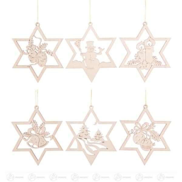 Baumschmuck Behang Weihnachtsmotive im Stern, Satz 2 (6) Breite x Höhe ca 8,5 cmx8,5 cm NEU
