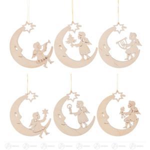 Baumschmuck Behang Mond mit Engel (6) Breite x Höhe ca 7,5 cmx7,5 cm NEU