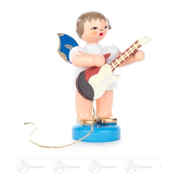 Engel mit E-Gitarre stehend, blaue Flügel Höhe ca 5,5 cm NEU