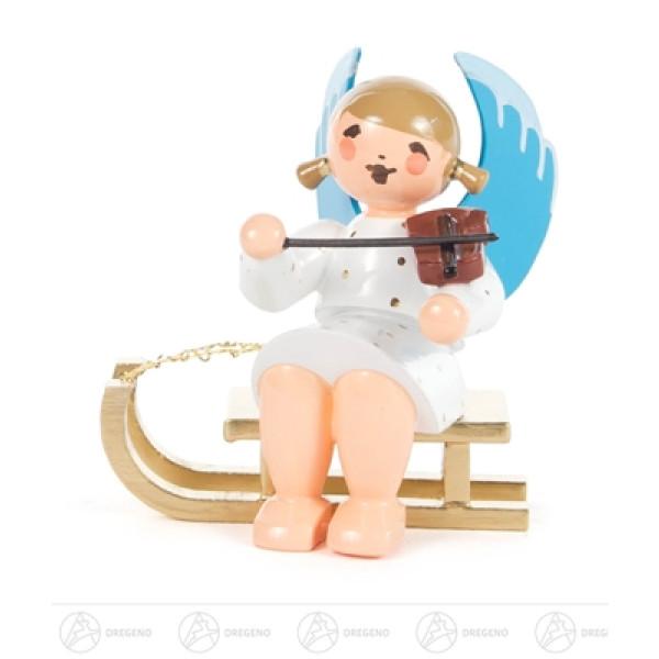 Engel mit Geige auf Schlitten sitzend Höhe ca 5,5 cm NEU