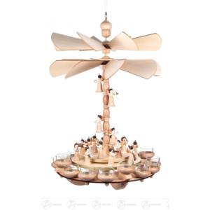 Hängepyramide mit Engeln, 2 Teller und 2 Flügelräder, für Teelichte Breite x Höhe x Tiefe 35 cmx54 cmx35 cm NEU
