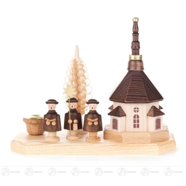 Kerzenhalter mit Seiffener Kirche und Kurrende, für Kerze d=14mm Breite x Höhe x Tiefe 17 cmx14 cmx8 cm NEU