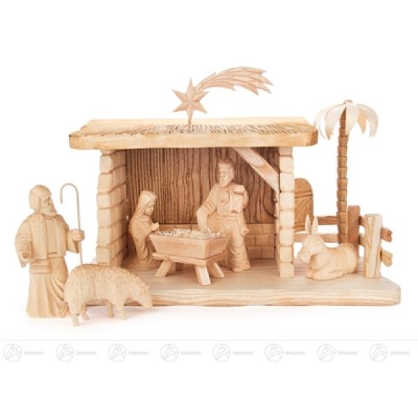Krippen und Zubehör Krippefiguren mit Stall geschnitzt (7) Breite x Höhe x Tiefe 31 cmx23 cmx13,5 cm NEU
