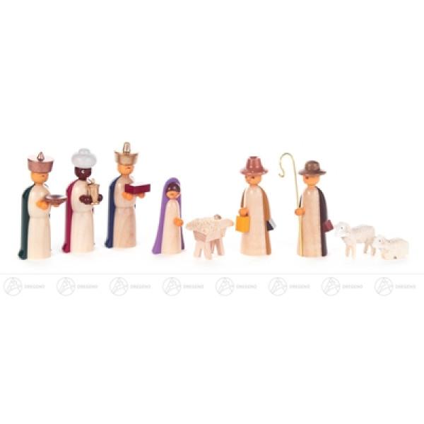 Krippen und Zubehör Krippefiguren farbig (9) Breite x Höhe x Tiefe 2,5 cmx6 cmx1,5 cm NEU