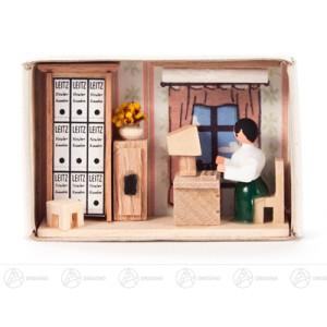 Miniatur Zündholzschachtel Büro Breite x Höhe ca 5,5 cmx4 cm NEU