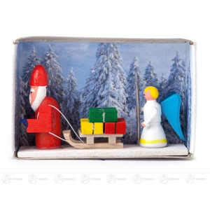 Miniatur Zündholzschachtel Weihnachtsmann mit Christkind Breite x Höhe ca 5,5 cmx4 cm NEU