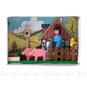 Miniatur Zündholzschachtel Schweinehirt Breite x Höhe ca 5,5 cmx4 cm NEU