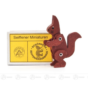 Miniatur Zündholzschachtel Eichhörnchen Höhe ca 5 cm NEU