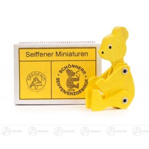 Miniatur Zündholzschachtel Bär gelb Höhe ca 5 cm NEU