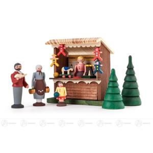 Miniatur Spielwarenbude mit 3 Figuren und 2 Bäumchen (6) Höhe ca 8 cm NEU