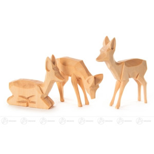 Miniatur Rehe geschnitzt groß (3) Höhe ca 8 cm NEU