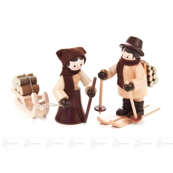 Miniatur Holzleute natur Höhe ca 6 cm NEU