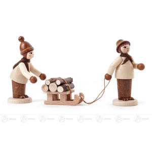 Miniatur Waldleute mit Schlitten natur (3) Höhe ca 6 cm NEU