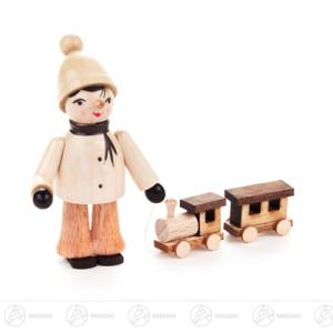 Miniatur Winterkind groß mit Eisenbahn Höhe ca 6 cm NEU